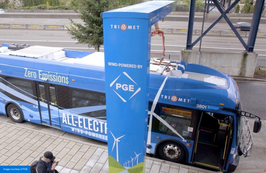 electric bus at charging station