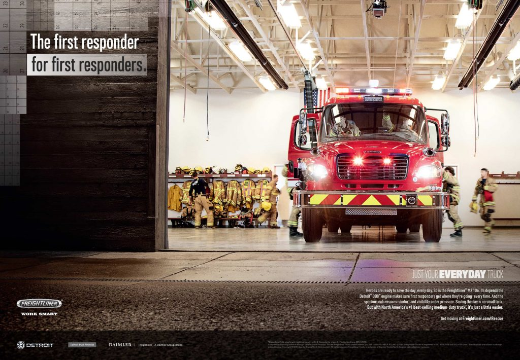 view of front of fire engine in fire house